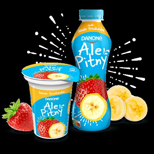 Obraz przedstawiający dwa opakowania jogurtu w butelce i kubeczku o banan truskawka