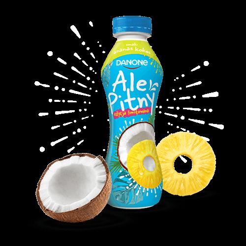 Obraz przedstawiający jedno opakowanie w butelce o smaku z edycji limitowanej: ananas kokos