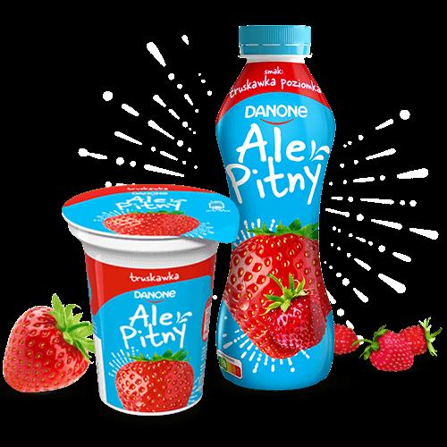 Obraz przedstawiający dwa opakowania jogurtu: w butelce o smaku truskawka poziomka i kubeczku o smaku truskawkowym